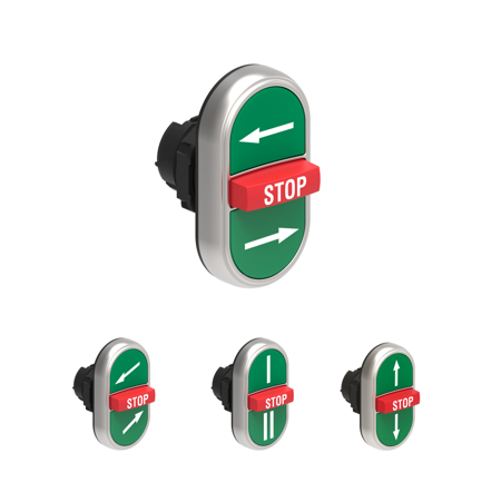 Dois botões à face + um saliente STOP